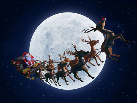 santa's deer: 3d rendered illustration of santa with his sleigh Stock Photo