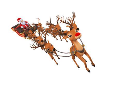3d rendered illustration of santa with his sleigh Stock Photo
