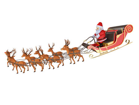 3d rendered illustration of santa with his sleigh Stock Illustration - 12585760