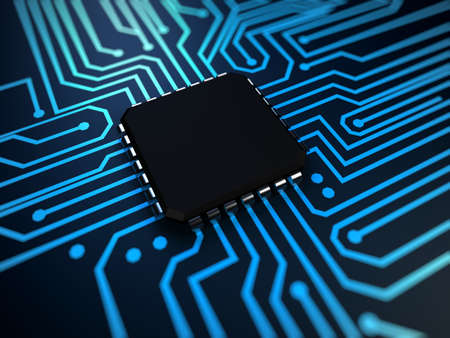 integrated: 3d rendered illustration of a cpu in blue
