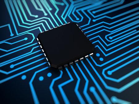 3d rindió la ilustración de una CPU en color azul Foto de archivo