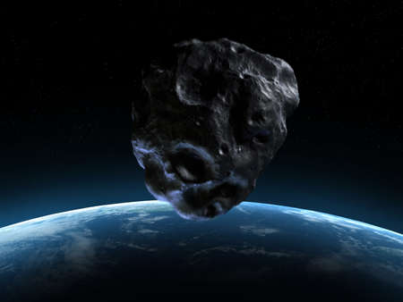 planetoid: 3d rendered armageddon scene with an asteroid Stock Photo