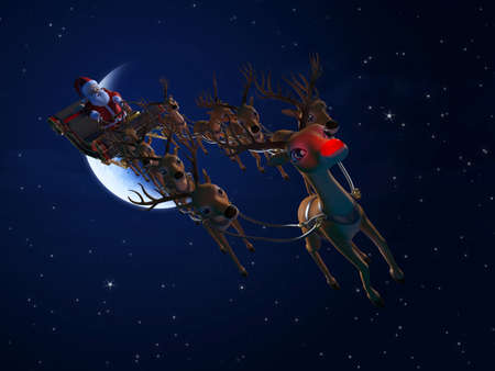 3d rendered illustration of santa with his sleigh Stock Illustration - 12585937