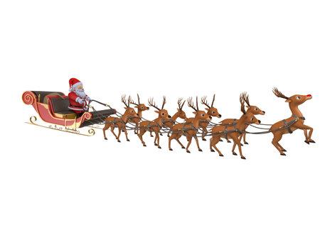 papa noel en trineo: 3d rindió la ilustración de Papá Noel con su trineo Foto de archivo