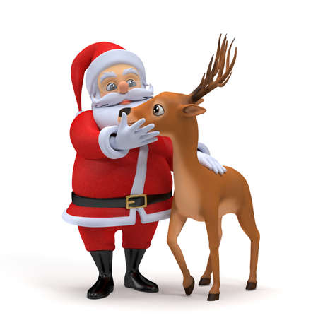 3d rendered illustration of a little santa and his reindeer