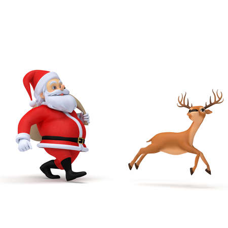 running reindeer: 3d rendered illustration of a little santa and his reindeer