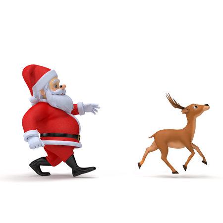 彼のトナカイの 1 つを運ぶ小さな 3 d サンタ