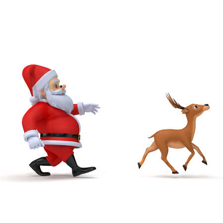 little 3d santa carrying one of his reindeers Stock Photo - 12845312