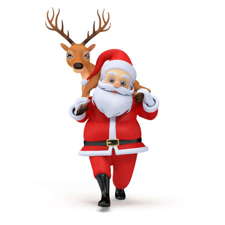 little 3d santa carrying one of his reindeers Stock Photo - 12585803