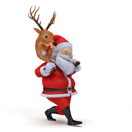 little 3d santa carrying one of his reindeers photo