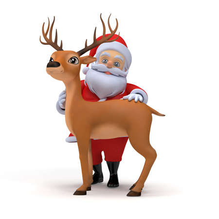 3d rendered illustration of a little santa and his reindeer Stock Illustration - 12585847