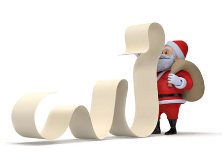 wishlist: 3d rendered illustration of a little santa with a long wishlist