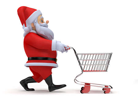 a little 3d santa with his shopping cart
