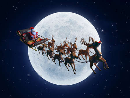 3d rendered illustration of santa with his sleigh Stock Illustration - 12585965