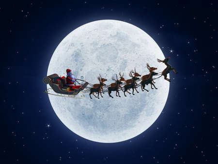 3d rendered illustration of santa with his sleigh Stock Illustration - 12585963