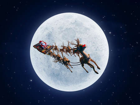 3d rendered illustration of santa with his sleigh Stock Illustration - 12585964