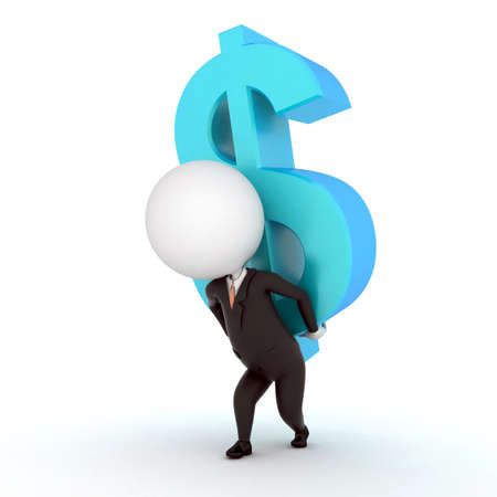 a 3d rendered illustration of a small guy and a dollar sign