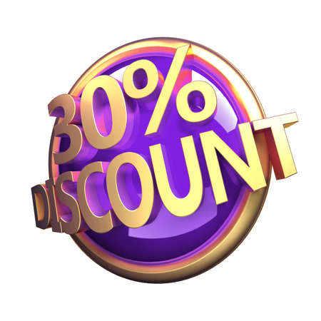 3d rendered, shiny gold purple discount button Stock Photo - 12585959
