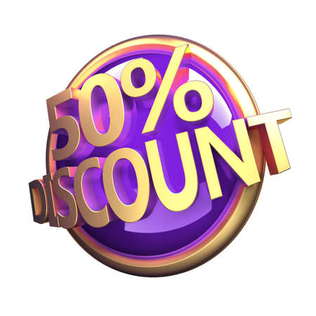 3d rendered, shiny gold purple discount button 版權商用圖片