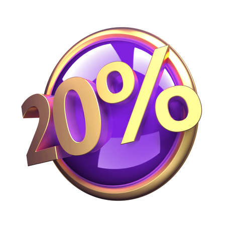 3d rendered, shiny gold purple discount button 版權商用圖片