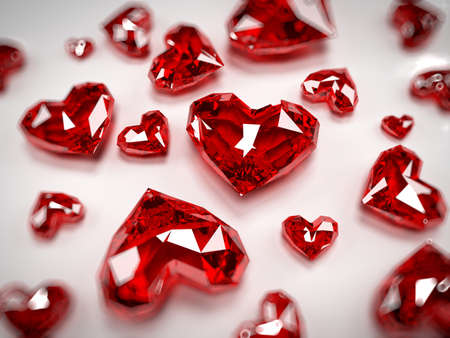 3d rendered illustration of some heart-shaped rubies Stock Photo