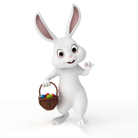 bunny cartoon: 3d rendered illustration of a cute easter bunny