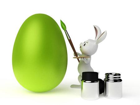 huevo caricatura: 3d rindi� la ilustraci�n de un conejito de pascua