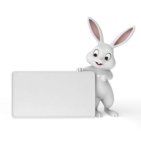 easter sign: 3d rendered illustration of a cute easter bunny