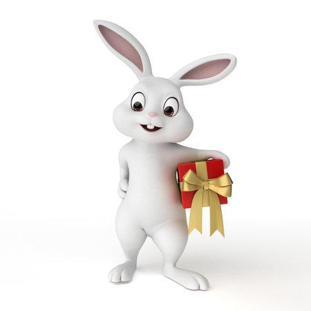 귀여운 부활절 토끼의 3d 렌더링 된 그림