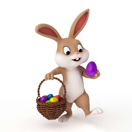 egg hunt: 3d rendered illustration of a cute easter bunny