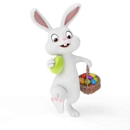 lapin cartoon: 3d illustration rendu d'un lapin mignon de Pâques