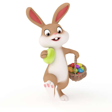 eggs in basket: 3d rendered illustration of a cute easter bunny