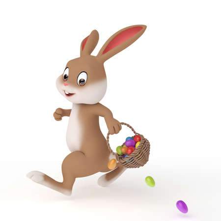 cartoon easter: 3d rendered illustration of a cute easter bunny