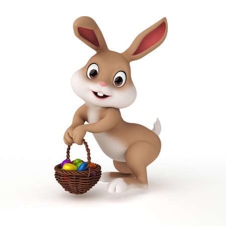 cartoon easter basket: 3d rendered illustration of a cute easter bunny