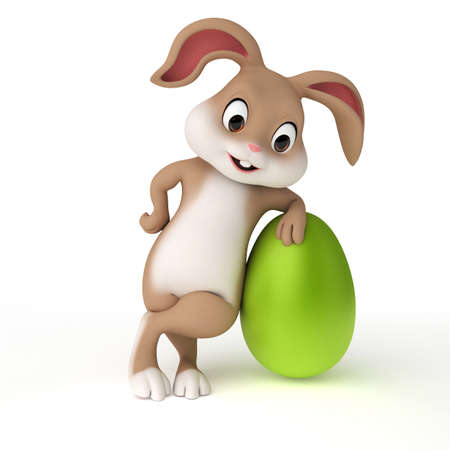 cartoon rabbit: 3d rendered illustration of a cute easter bunny