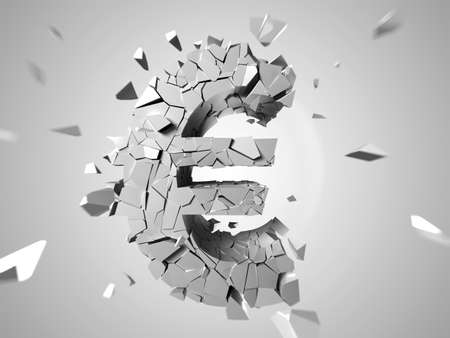 3d rendered abstract illustration of a broken euro sign illustration