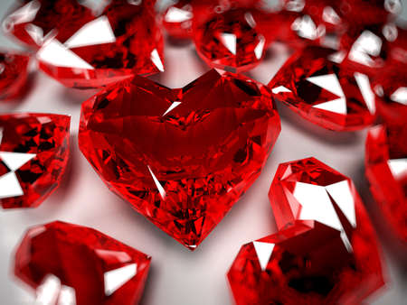 3d rendered illustration of some heart-shaped rubies illustration