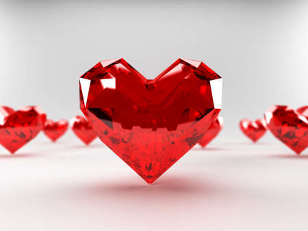 ruby stone: 3d rendered illustration of some heart-shaped rubies Stock Photo