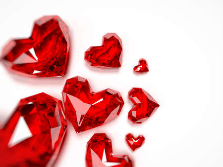 ruby stone: 3d rendered illustration of a heart shaped ruby Stock Photo
