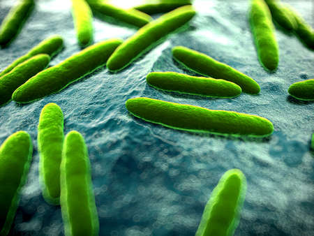 bacteria microscope: 3d rendered scientific illustration of some bacteria Stock Photo