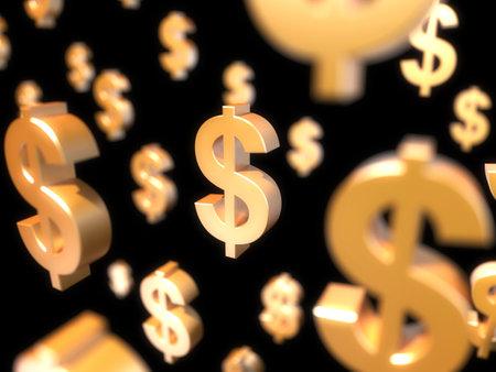 3d rendered illustration of a floating dollar sign illustration
