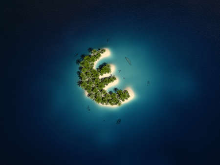 3d rendered illustration of a euro shaped island illustration