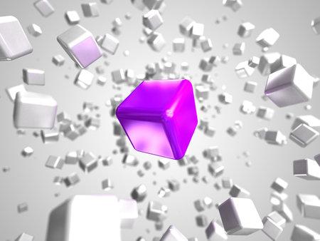 3d rendered illustration of some floating cubes Stock Illustration - 13004890