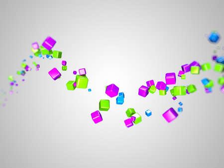 3d rendered illustration of some floating colorful cubes Stock Illustration - 13004822
