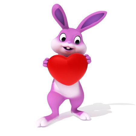 3d rendered illustration of a cute pink easter bunny illustration