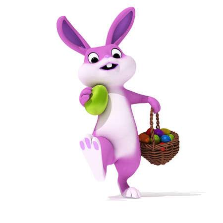cartoon easter basket: 3d rendered illustration of a cute pink easter bunny Stock Photo