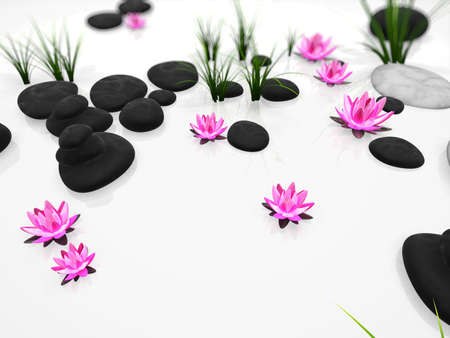3d rendered illustration with stones and flowers illustration