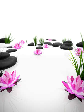 zen interior: 3d rendered illustration with stones and flowers
