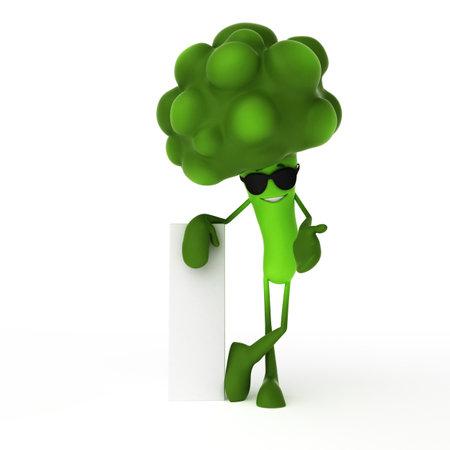 pepino caricatura: 3d rindió la ilustración de un personaje comida - brócoli