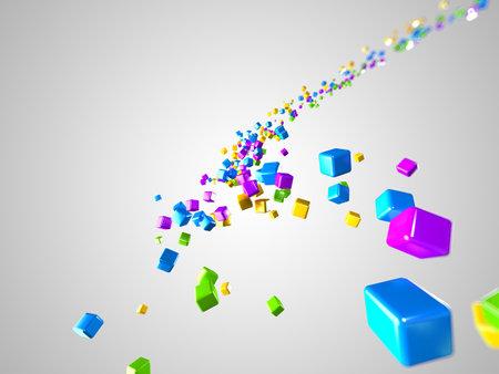 big waves: 3d rendered illustration of some floating cubes
